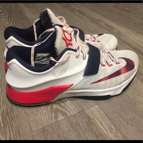 cbc10146784c Nike KD 7 VII USA White Obsidian Red Kevin Durant.  M 5ab77c5272ea882642c9cf0b